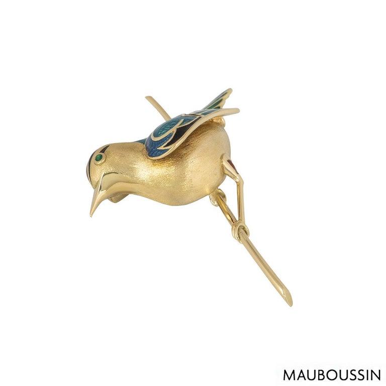 Women's or Men's Mauboussin Yellow Gold Enamel Bird Brooch For Sale