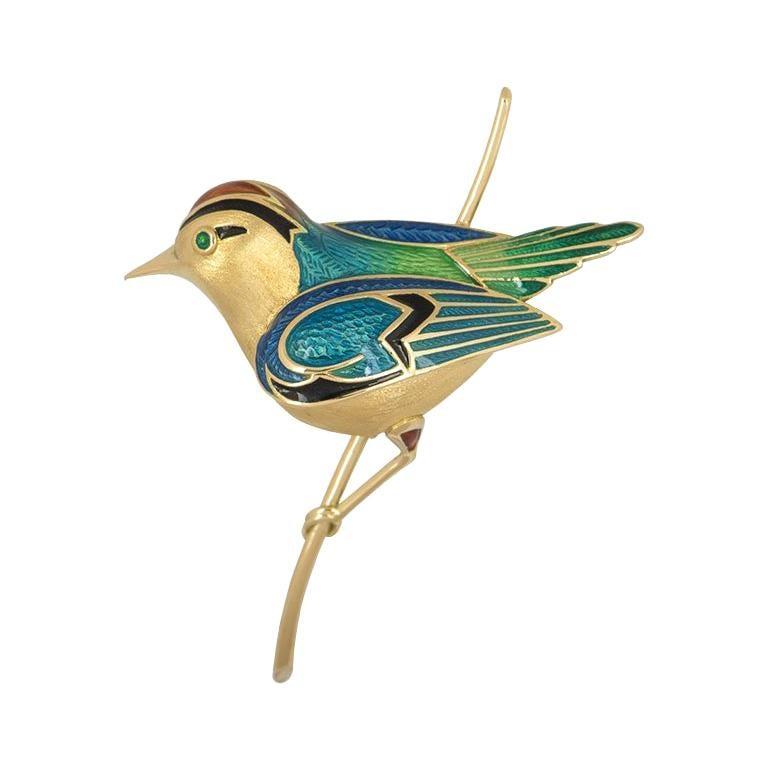 Mauboussin Yellow Gold Enamel Bird Brooch For Sale