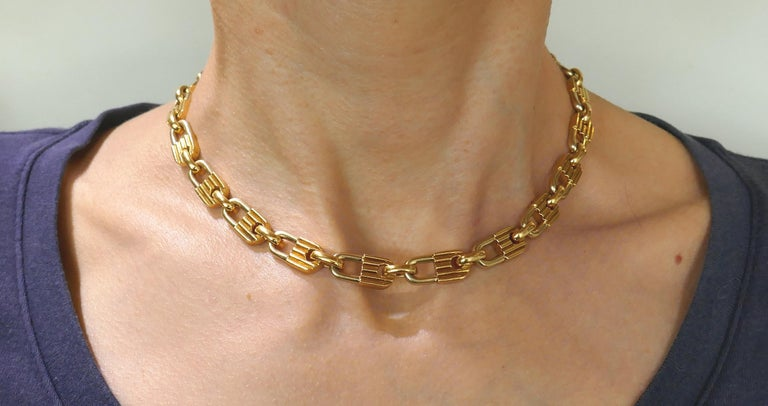 Edgy yet elegant chain necklace created by Mauboussin in France in the 1970s. Chic, smooth and wearable, the necklace is a great addition to your jewelry collection. The necklace is made of 18 karat yellow gold.  It measures 16 x 5/16 inches (40 x