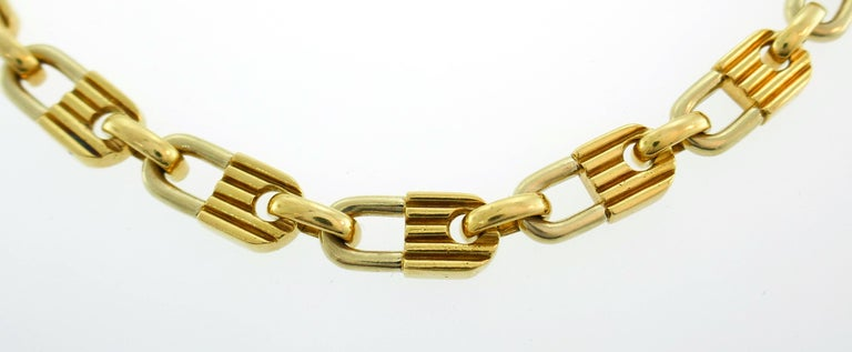 Women's or Men's Mauboussin Yellow Gold Link Chain Necklace, 1970s French