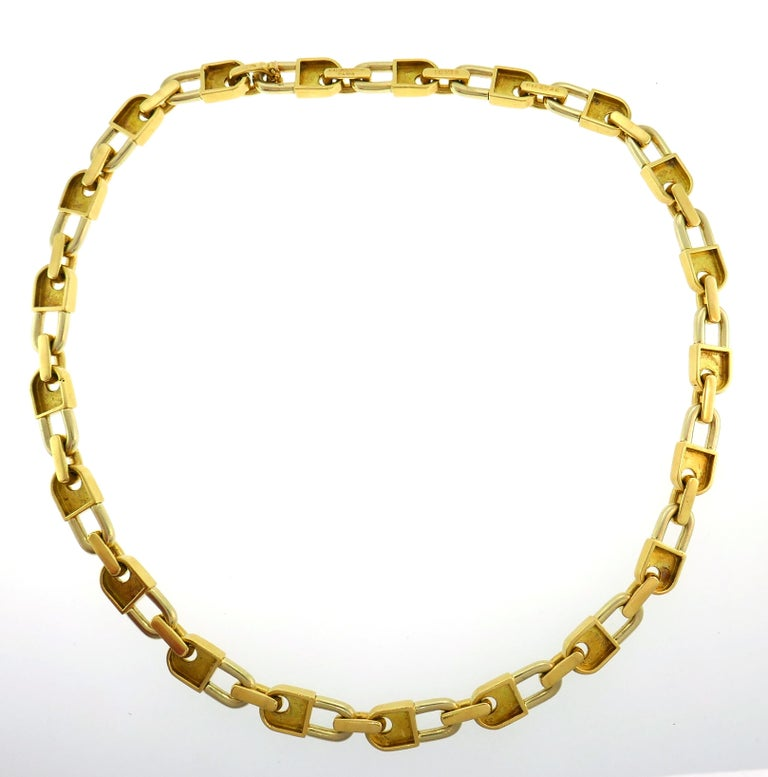 Mauboussin Yellow Gold Link Chain Necklace, 1970s French 2