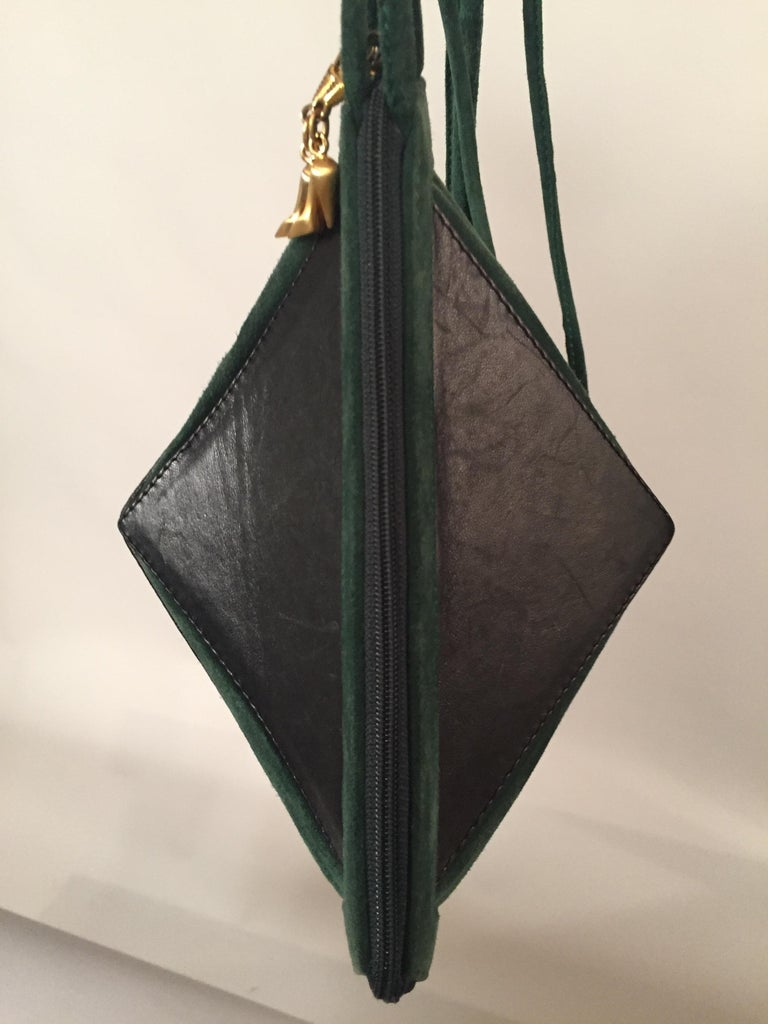 Maud Frizon Architectural Black Leather and Green Suede Shoulder Bag For Sale 1