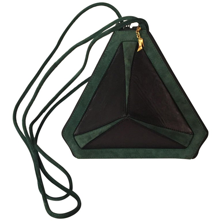Maud Frizon Architectural Black Leather and Green Suede Shoulder Bag For Sale