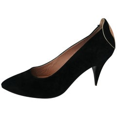 Maud Frizon Black and Golden Silk Heels. Size 39
