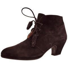 Maud Frizon Black Heeled Laced Velvet Ankle Boots - Size 39 1/2