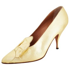 Maud Frizon Gold Leather Heels - Size 39 1/2 (EU)