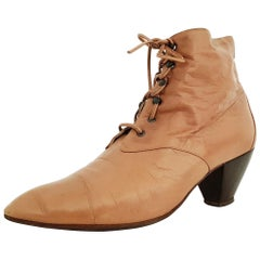 Maud Frizon Leather Ankle Heeled Boots With Wooden Sole - Size 39 1/2 (EU)
