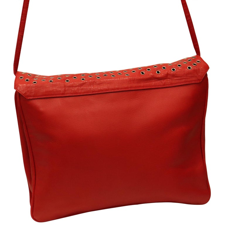 Maud Frizon Red Leather Bag W/ Grommets on Pocket In Excellent Condition For Sale In Los Angeles, CA