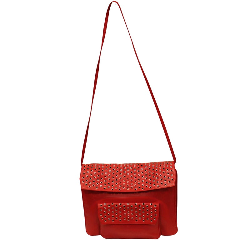 Women's Maud Frizon Red Leather Bag W/ Grommets on Pocket For Sale