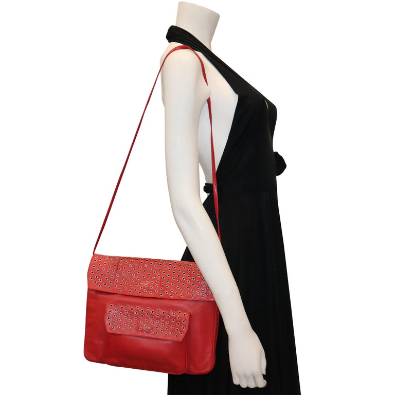 Maud Frizon Red Leather Bag W/ Grommets on Pocket For Sale 1