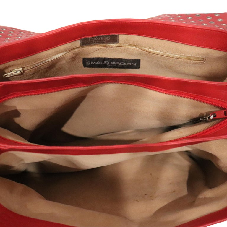 Maud Frizon Red Leather Bag W/ Grommets on Pocket For Sale 2
