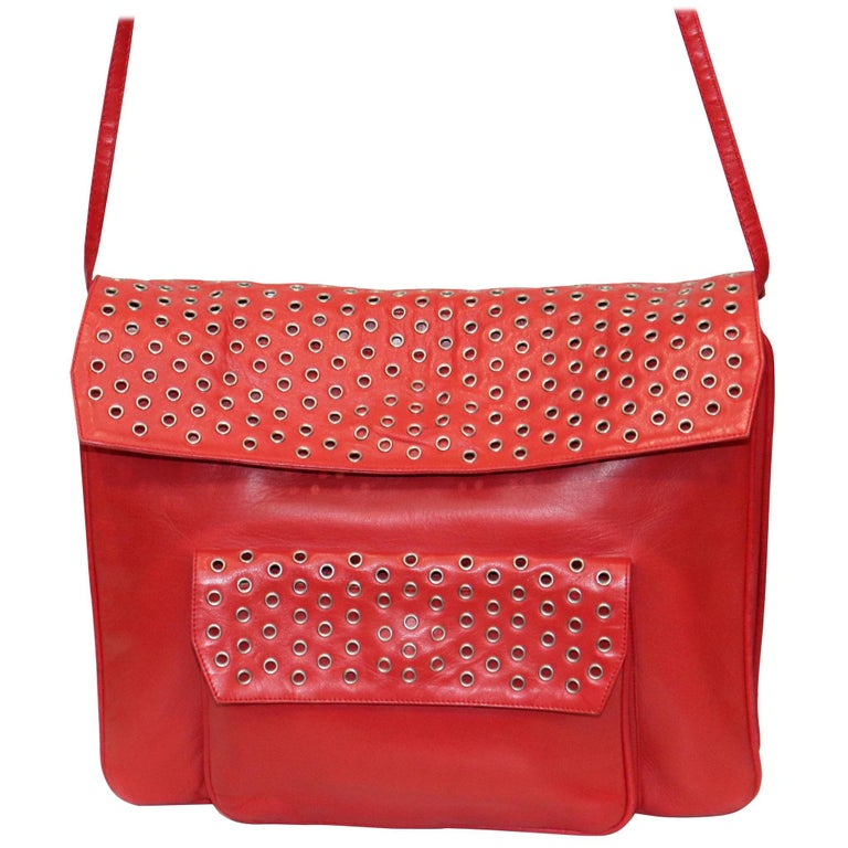 Maud Frizon Red Leather Bag W/ Grommets on Pocket For Sale