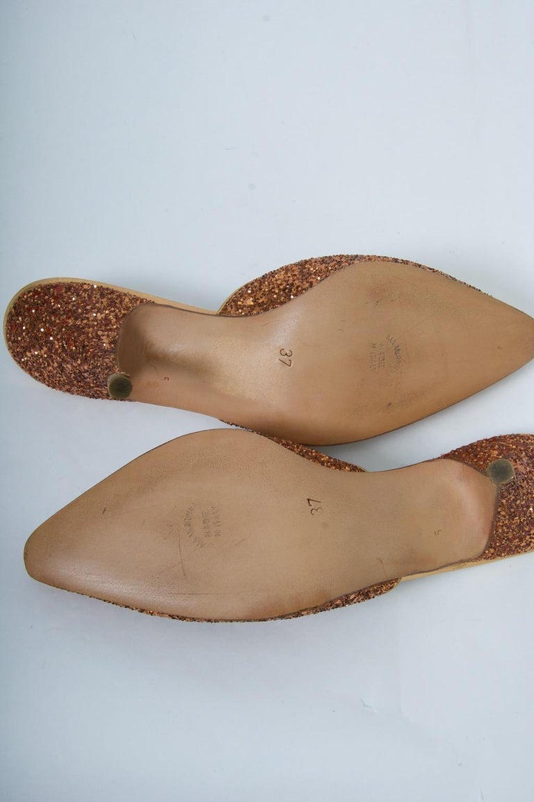 Maud Frizon Sparkle Evening Mules In New Condition For Sale In Alford, MA