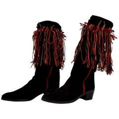 Maud Frizon Tricolor Laces Black Suede Boots. Size 39 1/2