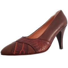 Maud Frizon Wild Crocodile and Wood Heels. NEW. Size 39