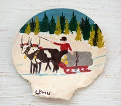 Clam Shell - Two Oxen and Sleigh