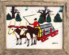 Early Oxen Hauling Logs