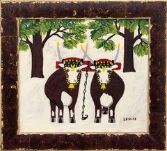 Oxen in Winter by Folk Artist Maud Lewis