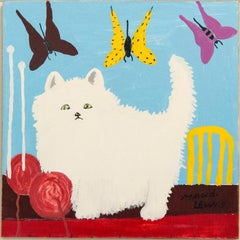White Cat with Yarn and Butterflies