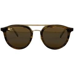 MAUI JIM Brown Tortoiseshell Acetate & Gold Tone Metal Sunglasses