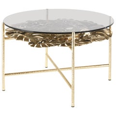 Maui Side Table in Brass Structure with Bronze Glass Top by Roberto Cavalli
