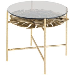 Maui Side Table in Brass Structure with bronzed Glass Top by Roberto Cavalli