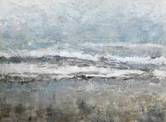 Drifting by Maureen Naughton, Large Framed Encaustic on Board Abstract Painting