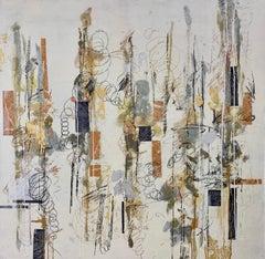 Musical Score, Maureen Naughton Framed Abstract Encaustic Painting