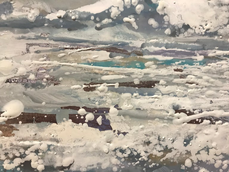 Salt Air by Maureen Naughton, Framed Encaustic on Board Seascape Painting For Sale 2