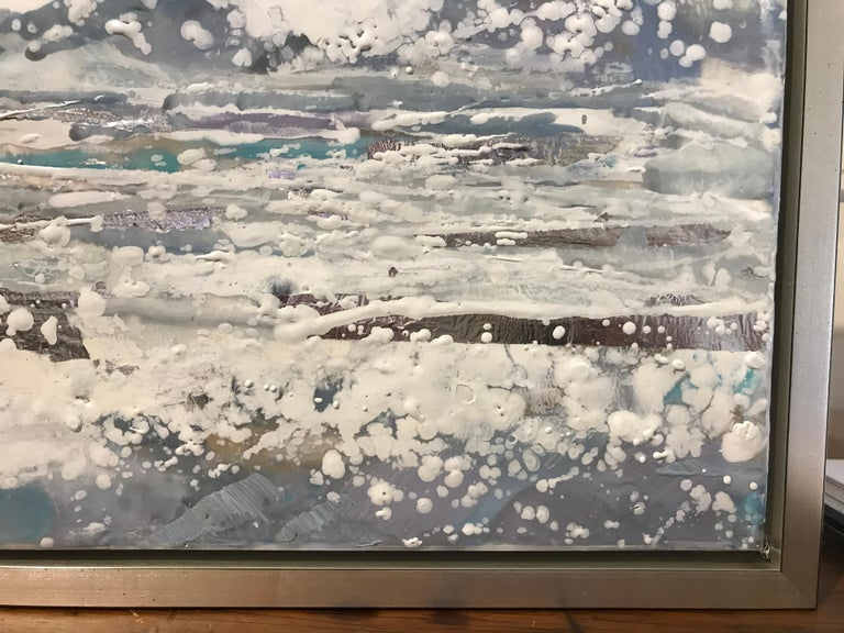 Salt Air by Maureen Naughton, Framed Encaustic on Board Seascape Painting For Sale 3