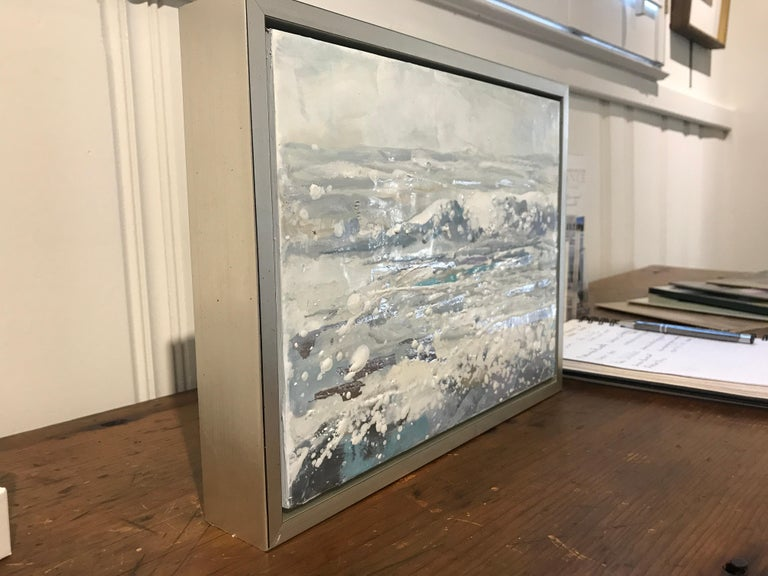 Salt Air by Maureen Naughton, Framed Encaustic on Board Seascape Painting For Sale 4