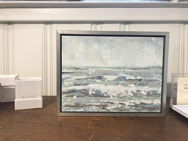 Salt Spray by Maureen Naughton, Framed Encaustic on Board Seascape Painting For Sale 2