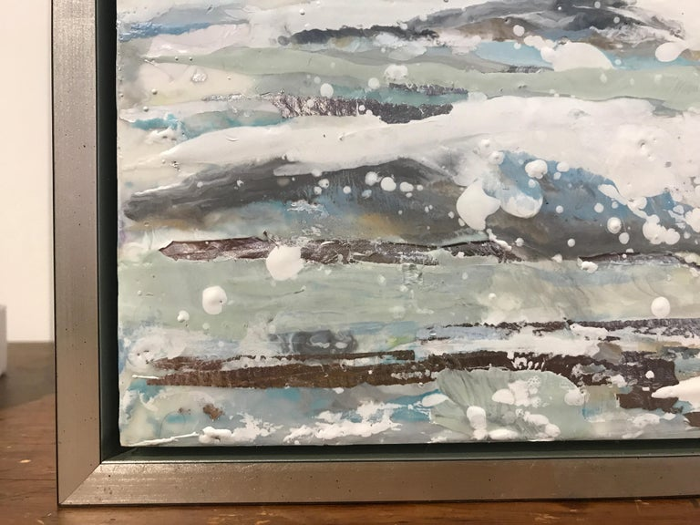 Salt Spray by Maureen Naughton, Framed Encaustic on Board Seascape Painting For Sale 3