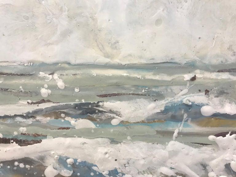 Salt Spray by Maureen Naughton, Framed Encaustic on Board Seascape Painting For Sale 4