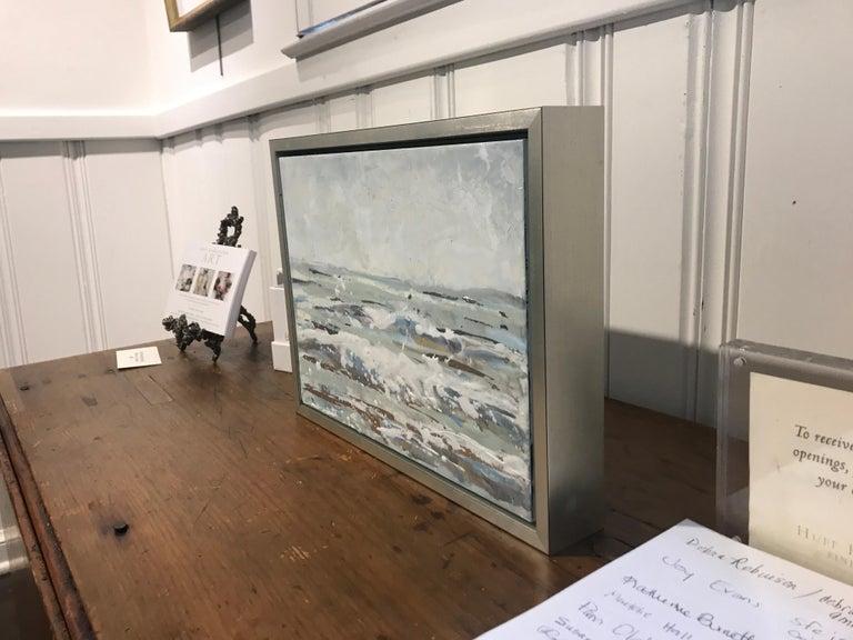 Salt Spray by Maureen Naughton, Framed Encaustic on Board Seascape Painting For Sale 5