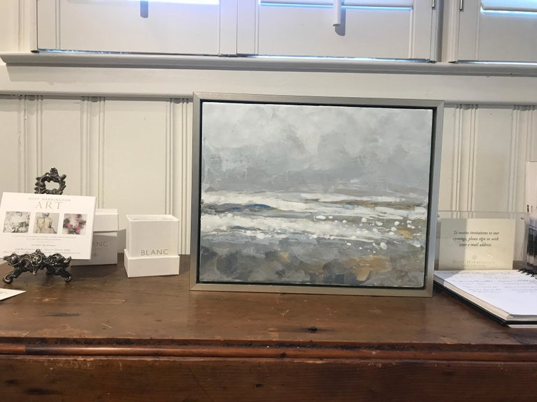 Salt Tipped by Maureen Naughton, Framed Encaustic on Board Seascape Painting For Sale 1
