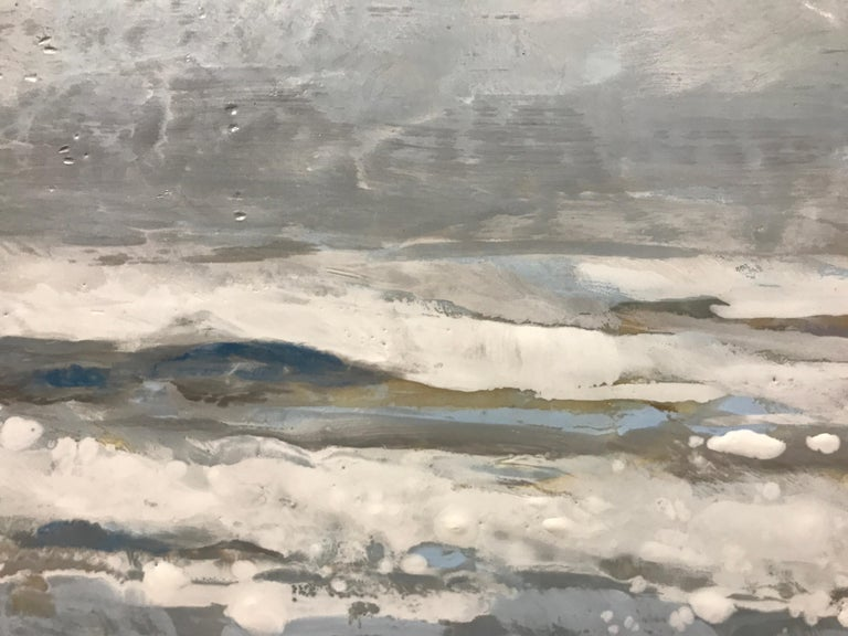 Salt Tipped by Maureen Naughton, Framed Encaustic on Board Seascape Painting For Sale 3