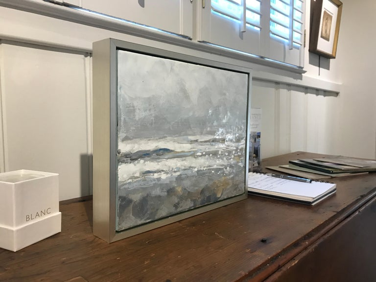 Salt Tipped by Maureen Naughton, Framed Encaustic on Board Seascape Painting For Sale 4