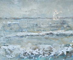Sea Salt by Maureen Naughton, Encaustic on Board Framed Seascape Painting