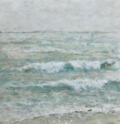 Tide Line by Maureen Naughton, Framed Encaustic on Board Seascape Painting