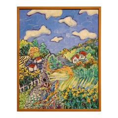 Colorful Abstract Landscape with Woman, Flower Fields, and Houses on Mountain