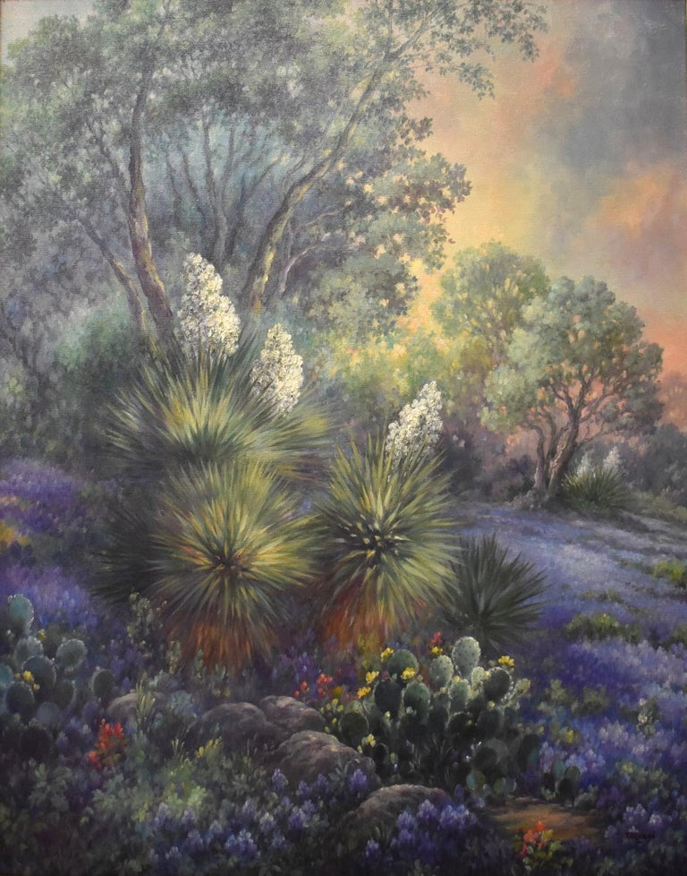 "Maureen Tarazon Landscape Painting - ""Lone Star Sunrise""  Bluebonnet Painting"