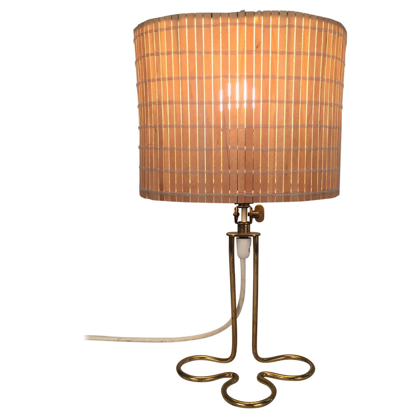Mauri Almari Brass and Wooden Rods Table Lamp, 1950