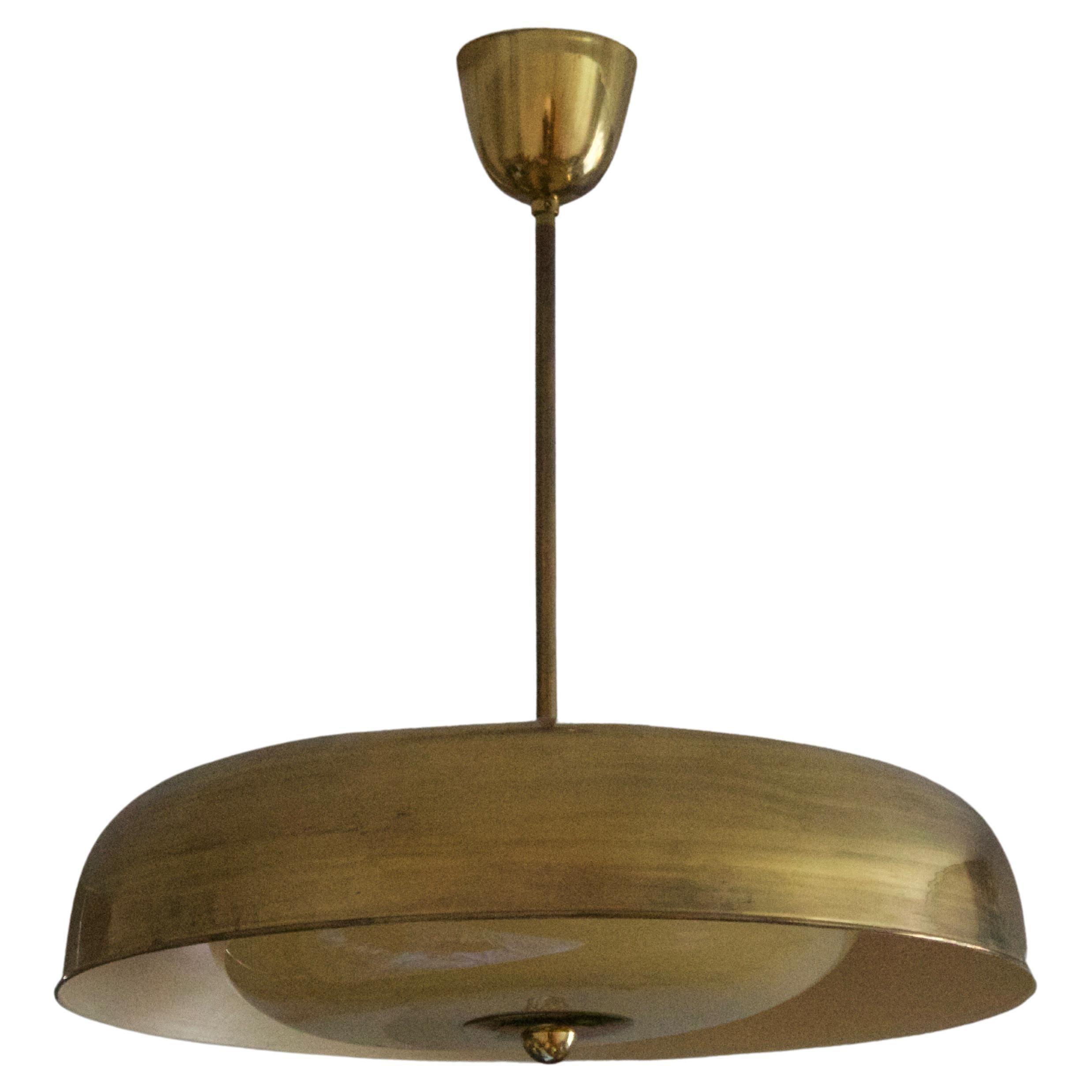 Mauri Almari, Sizable Pendant Light, Brass, Glass, Idman, Finland, 1950s