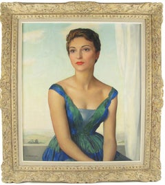 Parisian Socialite Woman Oil on Canvas Painting by Maurice Ehlinger