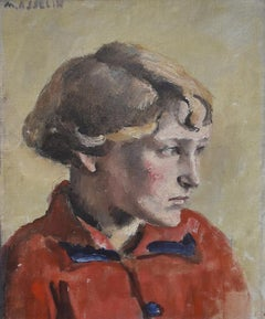 Maurice Asselin (1882-1947)  A young girl in red, Oil, Canvas, Portrait Painting