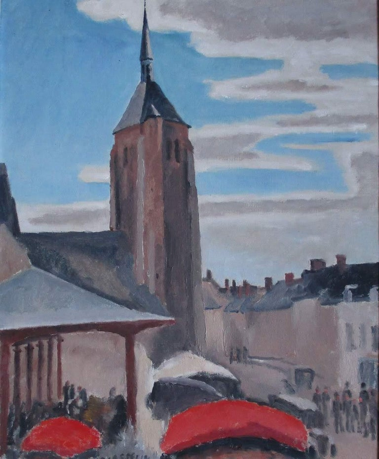 Maurice Asselin Figurative Painting - Market day in a country town on the Loire