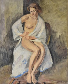 Maurice Asselin (1882-1947) A woman in white bathrobe, signed oil on canvas