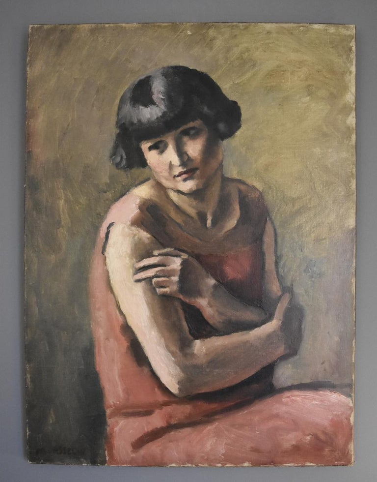 Maurice Asselin (1882-1947) Portrait of a Lady in red, oil on canvas - Post-Impressionist Painting by Maurice Asselin