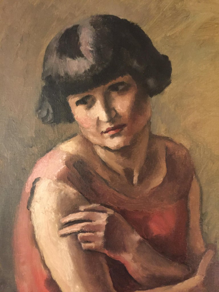 Maurice Asselin (1882-1947)  The Lady in red Signed lower right Oil on canvas. Unframed 73 x 64 cm   Maurice Asselin is a painter and engraver, member of the